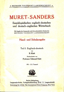 Muret-Sanders - Encyclopaedic English-German Dictionary I.